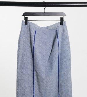Голубая юбка миди из жаккарда Plus-Голубой Elvi