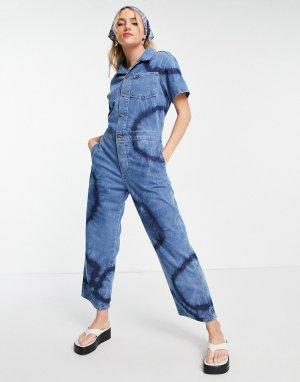 Синий джинсовый комбинезон с принтом тай-дай -Голубой Wrangler