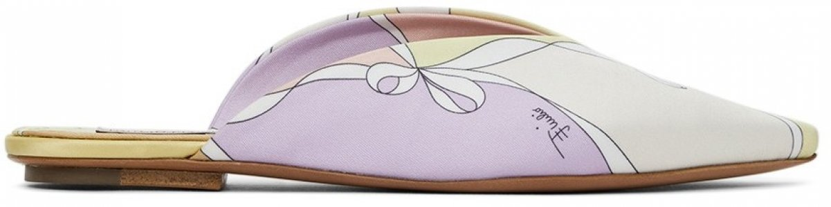 Multicolor Patterned Flat Mules Emilio Pucci. Цвет: 009 lilla