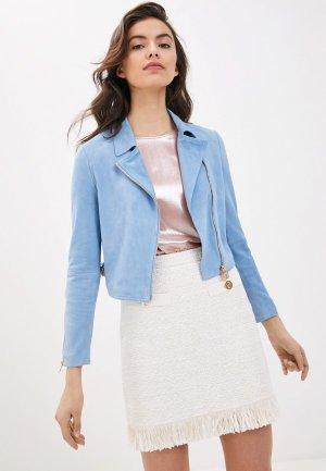 Куртка кожаная Liu Jo. Цвет: голубой
