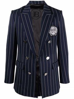 Двубортный пиджак с заостренными лацканами Balmain. Цвет: синий
