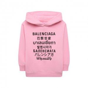 Хлопковое худи Balenciaga. Цвет: розовый