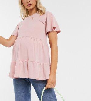 Светло-розовая футболка с ярусной баской -Розовый New Look Maternity