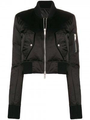 Укороченная куртка-бомбер UNRAVEL PROJECT. Цвет: черный