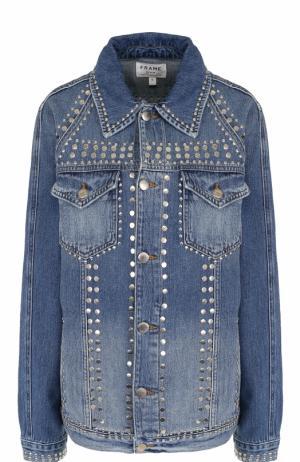 Джинсовая куртка прямого кроя с потертостями Frame Denim. Цвет: голубой