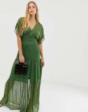 Ярусное платье макси с блестящими нитями Wanda BA&SH. Цвет: зеленый