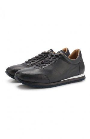 Кожаные кроссовки Brioni. Цвет: синий