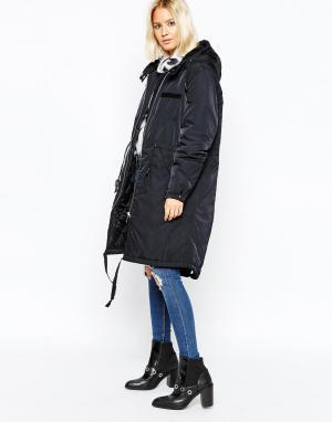 Длинное стеганое пальто Cheap Monday. Цвет: черный