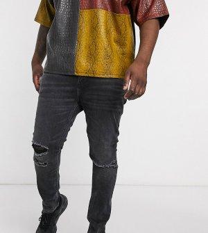Черные супероблегающие джинсы с рваной отделкой Plus-Черный ASOS DESIGN
