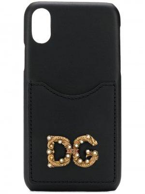 Чехол для iPhone X с логотипом Dolce & Gabbana. Цвет: черный