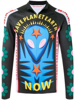 Топ Save Earth с длинными рукавами Walter Van Beirendonck. Цвет: черный