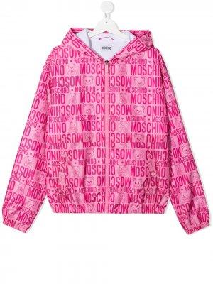 Куртка с капюшоном и монограммой Moschino Kids. Цвет: синий