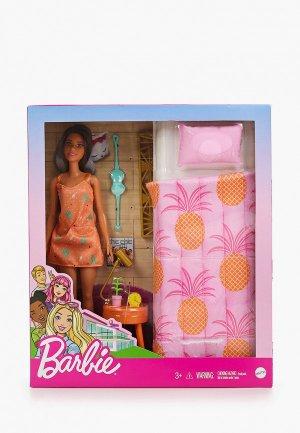Набор игровой Barbie Barbie®  брюнетка в платье спальне с кроватью. Цвет: разноцветный