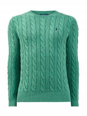 Пуловер из хлопковой пряжи с фактурным вязаным принтом POLO RALPH LAUREN. Цвет: зеленый
