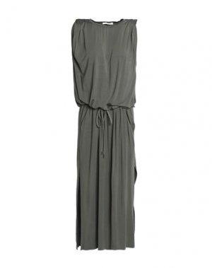 Платье длиной 3/4 HALSTON. Цвет: зеленый-милитари