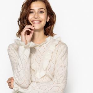 Пуловер с круглым вырезом из плотного трикотажа SUNCOO. Цвет: экрю