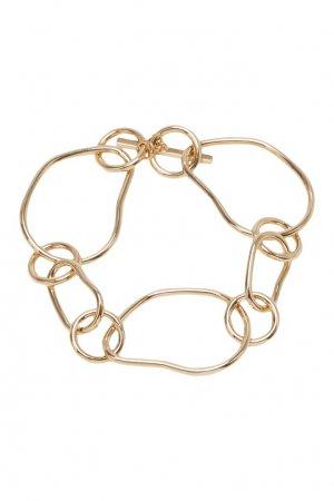 Золотистый браслет с асимметричными звеньями Aqua. Цвет: золотой