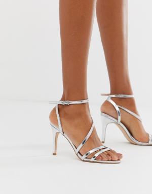 Серебристые босоножки на каблуке Delly-Серебряный Faith