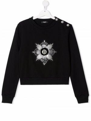 TEEN embroidered logo cropped sweatshirt Balmain Kids. Цвет: черный