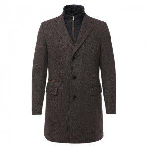 Шерстяное пальто BOSS. Цвет: коричневый