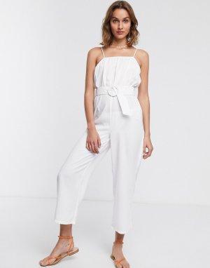 Белый пляжный комбинезон с широкими штанинами и поясом Fashion Union