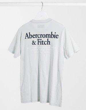 Светло-синяя футболка с принтом логотипа на спине -Синий Abercrombie & Fitch