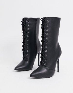 Черные ботинки из искусственной кожи на шнуровке -Черный цвет Glamorous