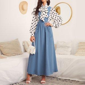 С воротником-бантом в горошек Топ на подтяжках Платье SHEIN. Цвет: синий и белый