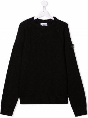 TEEN logo-patch knitted jumper Stone Island Junior. Цвет: черный