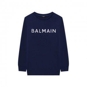 Хлопковый свитшот Balmain. Цвет: синий