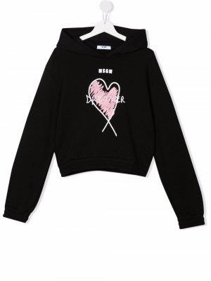 TEEN Dreamers logo-print hoodie MSGM Kids. Цвет: черный