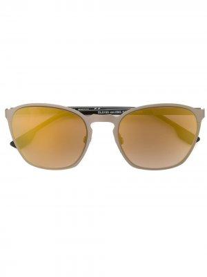 Солнцезащитные очки с круглой оправой Diesel. Цвет: золотистый