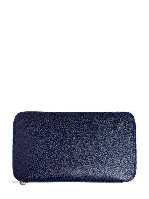 Классическое портмоне из кожи ламы с застежкой на молнию ARTIOLI. Цвет: синий