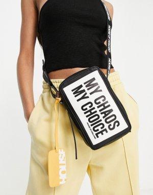 Черная сумка через плечо с надписью и кредитницей -Черный House of Holland