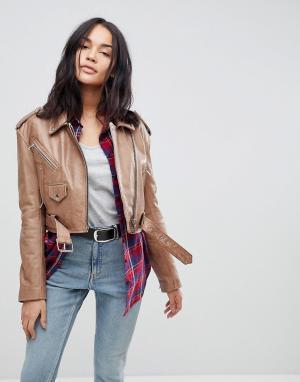 Кожаная куртка в винтажном стиле ASOS DESIGN. Цвет: бежевый
