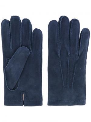 Однотонные перчатки Eleventy. Цвет: синий