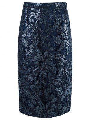 Кружевная юбка-миди Gloria Coelho. Цвет: синий