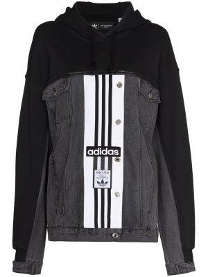 Джинсовая куртка из коллаборации с Dry Clean Only adidas. Цвет: черный