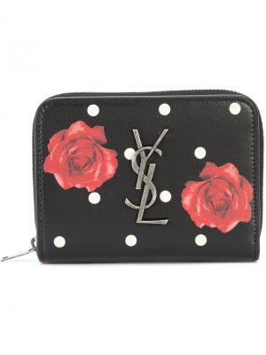 Компактный кошелек с принтом роз Saint Laurent. Цвет: черный