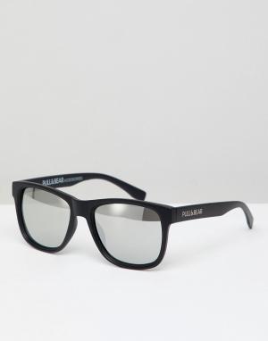 Квадратные солнцезащитные очки в черной оправе с зеркальными стеклами Pull&Bear. Цвет: черный
