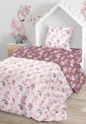 Постельное белье 1,5-спальное Juno. Цвет: розовый