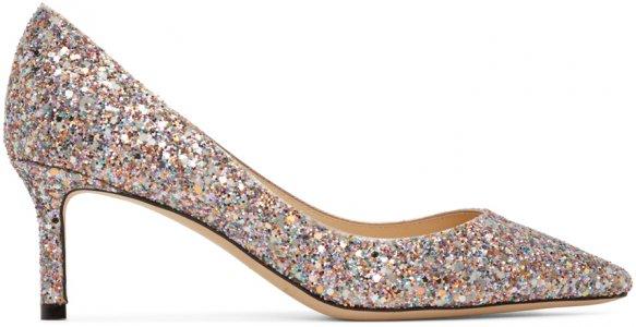 Multicolor Course Glitter Romy 60 Heels Jimmy Choo. Цвет: mochi