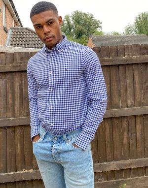 Узкая рубашка в клетку с длинными рукавами -Синий Tommy Hilfiger