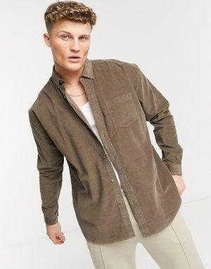Коричневая oversized-рубашка из вельвета в рубчик -Серый New Look