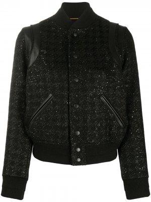 Куртка-бомбер с пайетками Saint Laurent. Цвет: черный