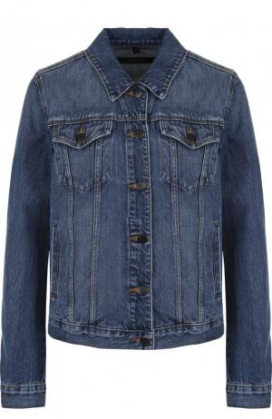 Укороченная джинсовая куртка с потертостями J Brand. Цвет: синий
