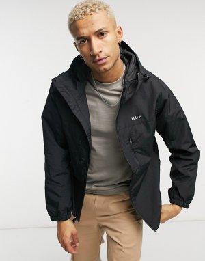 Черная куртка-ветровка на молнии Essentials-Черный цвет HUF