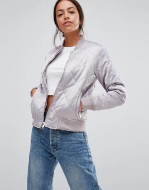 Стеганая куртка‑пилот New Look. Цвет: серый