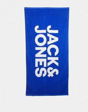 Синее пляжное полотенце с логотипом -Синий Jack & Jones