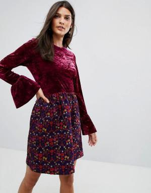Платье из мятого бархата с жаккардовой юбкой в цветочек Anna Sui. Цвет: розовый